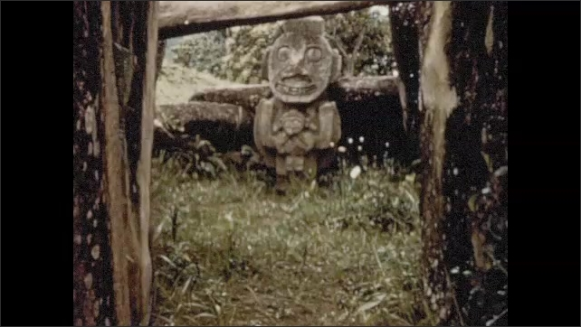 1950s: Carved stone idols and statues in Colombia.