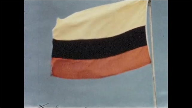 1950s: Large red flower sways on bush. Flag of Colombia waves in breeze.